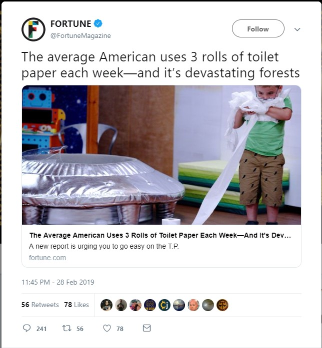 No Each American Doesn T Use Three Rolls Of Toilet Paper Per Week