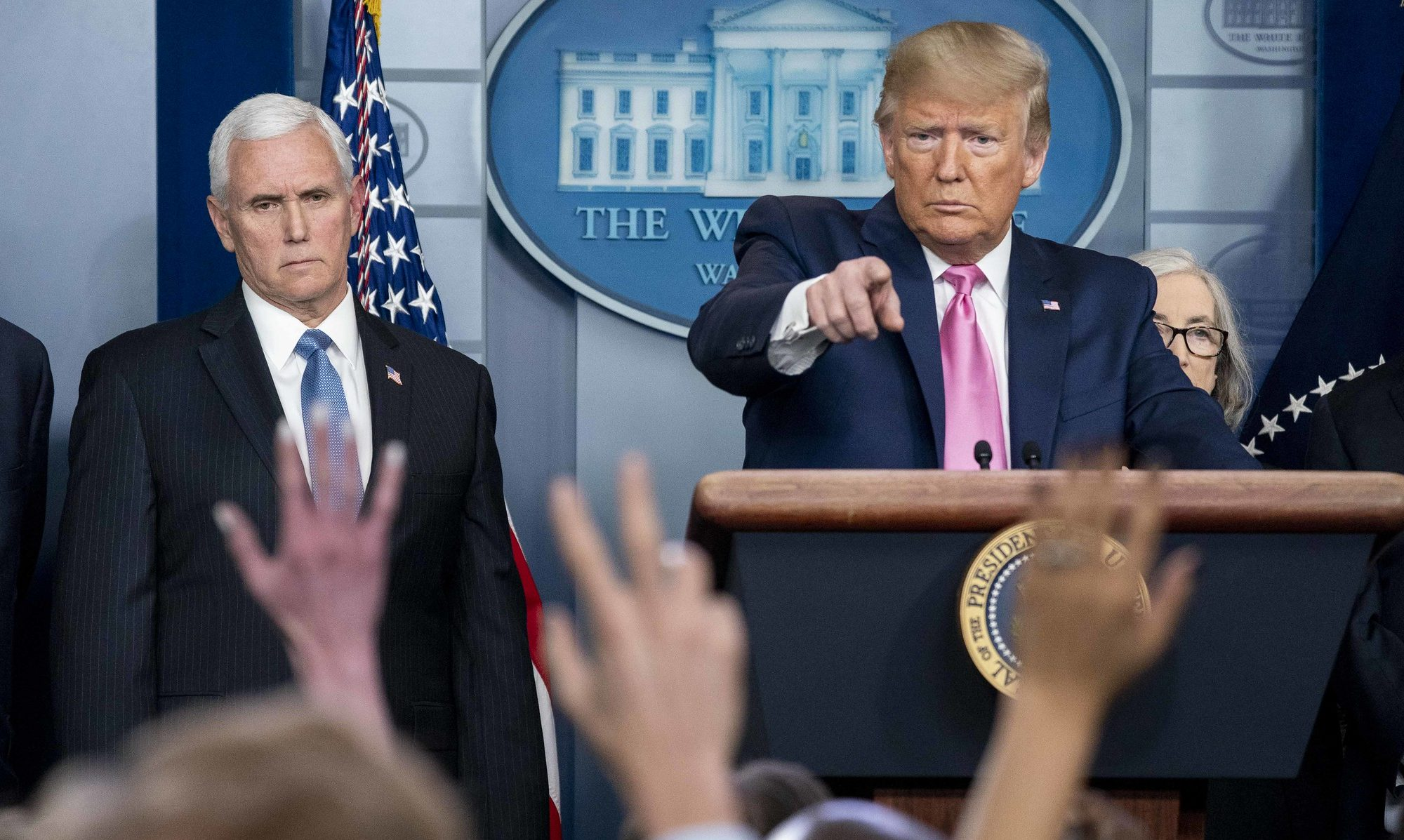 Donald Trump, Mike Pence and the Coronavirus Task Force speak to the press in February. Official White House Photo/D. Myles Cullen.