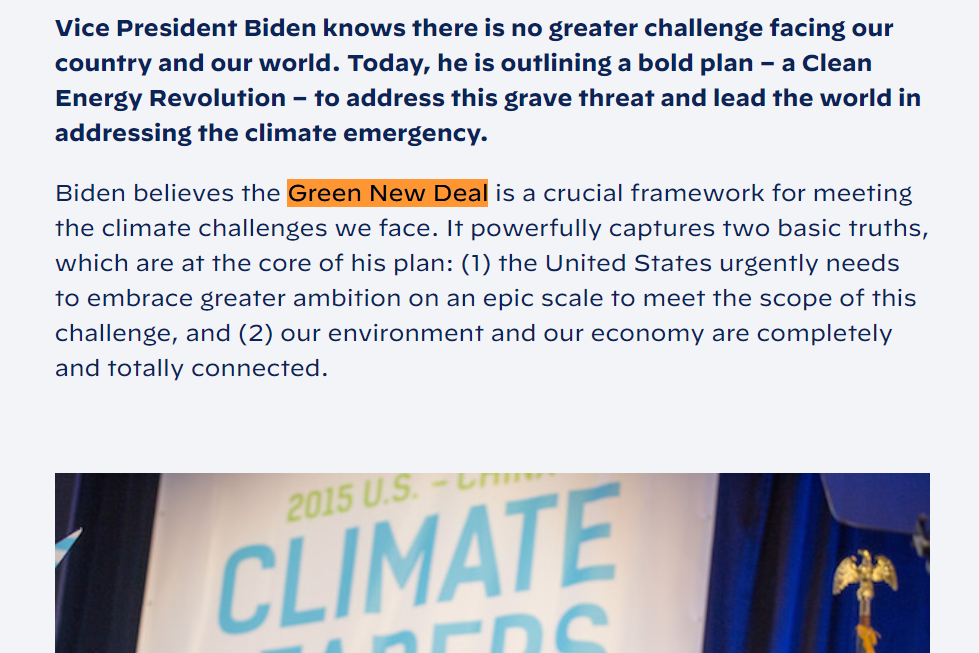 Contrary To Debate Claim, Biden Site Says He Supports Green New Deal
