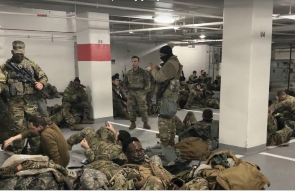 National Guard sleeps in parking garage