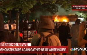 The riot in Lafayette Park the night before June 1. Screenshot/MSNBC.