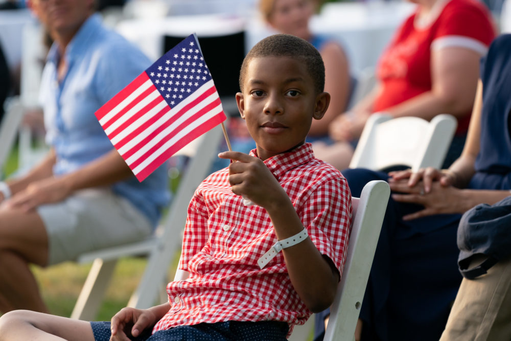 A young guest at the 2020 Salute to America event on the White House South Lawn. Andrea Hanks/White House/Flickr.